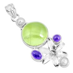 Clearance Sale- 21.32cts natural green prehnite amethyst pearl 925 silver flower pendant d31014