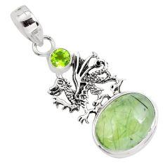 10.23cts natural green prehnite peridot 925 silver dragon pendant jewelry p55199