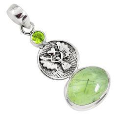 11.37cts natural green prehnite peridot 925 silver eagle charm pendant p55183
