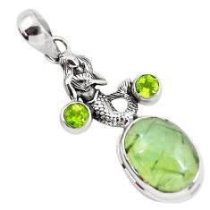 11.97cts natural green prehnite peridot 925 silver fairy mermaid pendant p55188