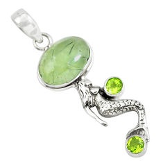 12.31cts natural green prehnite peridot 925 silver fairy mermaid pendant p55402