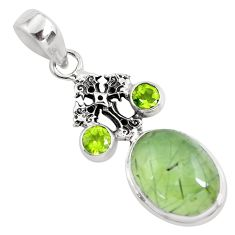 10.84cts natural green prehnite peridot 925 silver holy cross pendant p55198