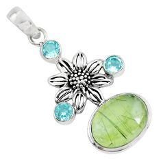 12.32cts natural green prehnite topaz 925 sterling silver flower pendant p55182