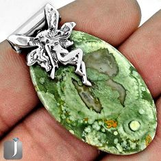 NATURAL GREEN RAINFOREST OPAL ROUGH 925 SILVER ANGEL FAIRY WINGS PENDANT G31217