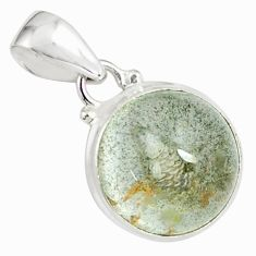 15.02cts natural green scenic lodolite 925 sterling silver pendant p79070