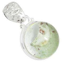 21.48cts natural green scenic lodolite 925 sterling silver pendant p79072