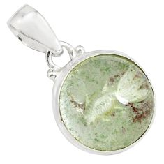 16.87cts natural green scenic lodolite 925 sterling silver pendant p79075