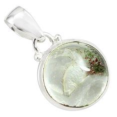 15.65cts natural green scenic lodolite 925 sterling silver pendant p79092