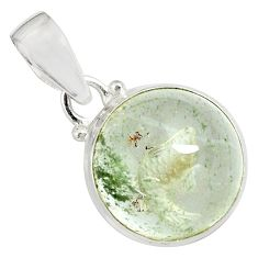 17.22cts natural green scenic lodolite 925 sterling silver pendant p79093
