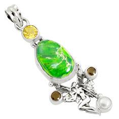 Natural green sea sediment jasper 925 silver angel wings fairy pendant p37649