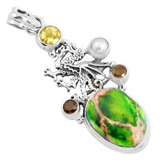 18.63cts natural green sea sediment jasper 925 silver dragon pendant p37658