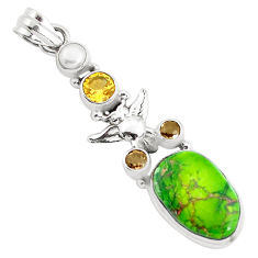 15.44cts natural green sea sediment jasper citrine 925 silver owl pendant p37651