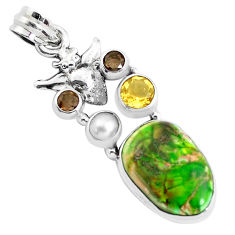 15.97cts natural green sea sediment jasper citrine 925 silver owl pendant p37652
