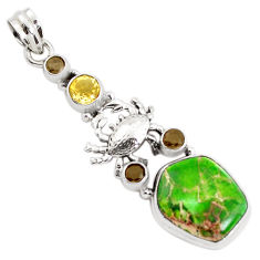 17.36cts natural green sea sediment jasper citrine silver crab pendant p37642