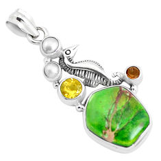 16.92cts natural green sea sediment jasper smoky topaz 925 silver pendant p37659