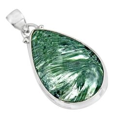 18.68cts natural green seraphinite (russian) 925 sterling silver pendant p92166