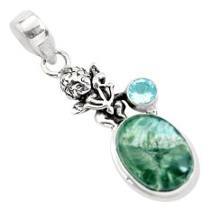10.01cts natural green seraphinite 925 silver cupid angel wings pendant p55147