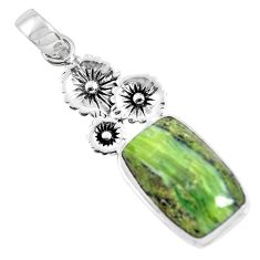 16.15cts natural green swiss imperial opal 925 silver flower pendant p55090