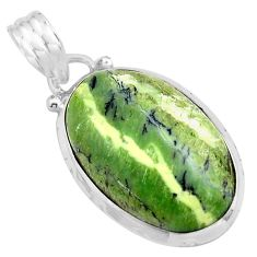 12.22cts natural green swiss imperial opal 925 sterling silver pendant p85562