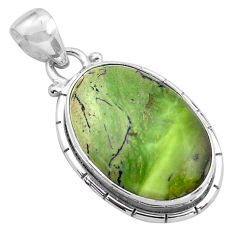 13.70cts natural green swiss imperial opal 925 sterling silver pendant p85573