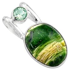15.70cts natural green swiss imperial opal amethyst 925 silver pendant p85472