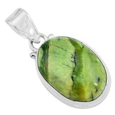 13.67cts natural green swiss imperial opal oval shape 925 silver pendant p59629
