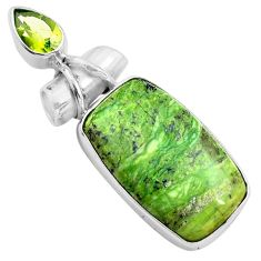 16.73cts natural green swiss imperial opal peridot 925 silver pendant p85565