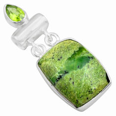 16.54cts natural green swiss imperial opal peridot 925 silver pendant p85566