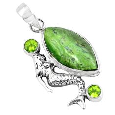 15.95cts natural green swiss imperial opal silver fairy mermaid pendant p55095