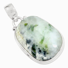 20.88cts natural green tourmaline in quartz 925 sterling silver pendant d31725