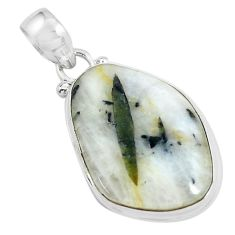 17.22cts natural green tourmaline in quartz 925 sterling silver pendant d31946