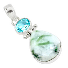 18.70cts natural green tourmaline in quartz topaz 925 silver pendant p42575