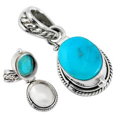 5.31cts natural green turquoise tibetan 925 sterling silver pendant p45346