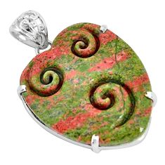 29.09cts natural green unakite 925 sterling silver pendant jewelry p35908