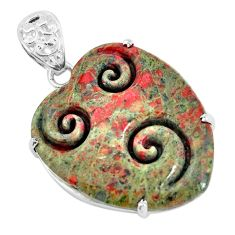 30.36cts natural green unakite 925 sterling silver pendant jewelry p35909