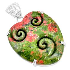31.00cts natural green unakite 925 sterling silver pendant jewelry p35910