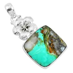 Clearance Sale- 25.19cts natural green variscite 925 sterling silver flower pendant d31083