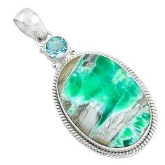 24.38cts natural green variscite topaz 925 sterling silver pendant d31813