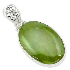 24.38cts natural green vasonite 925 sterling silver pendant jewelry p66254