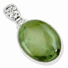 28.08cts natural green vasonite 925 sterling silver pendant jewelry p66260