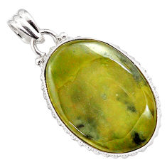 22.59cts natural green vasonite 925 sterling silver pendant jewelry p85201