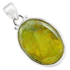 19.23cts natural green vasonite 925 sterling silver pendant jewelry p85202