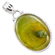 21.48cts natural green vasonite 925 sterling silver pendant jewelry p85206