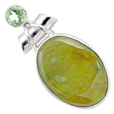 22.59cts natural green vasonite amethyst 925 sterling silver pendant p85221