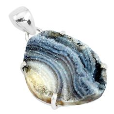 18.62cts natural grey desert druzy (chalcedony rose) 925 silver pendant p39935