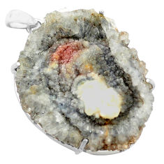62.62cts natural grey desert druzy (chalcedony rose) 925 silver pendant p74134