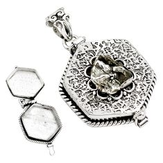 5.86cts natural grey meteorite gibeon 925 silver poison box pendant p80006