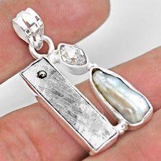 14.26cts natural grey meteorite gibeon biwa pearl 925 silver pendant p54563