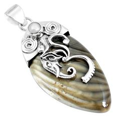 34.21cts natural grey striped flint ohio 925 silver elephant pendant p45561