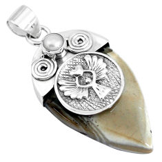 Clearance Sale- 29.55cts natural grey striped flint ohio pearl 925 silver pendant jewelry p45567